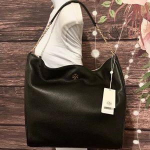 🖤 TORY BURCH 🖤BLACK CARTER SLOUCHY LEATHER HOBO